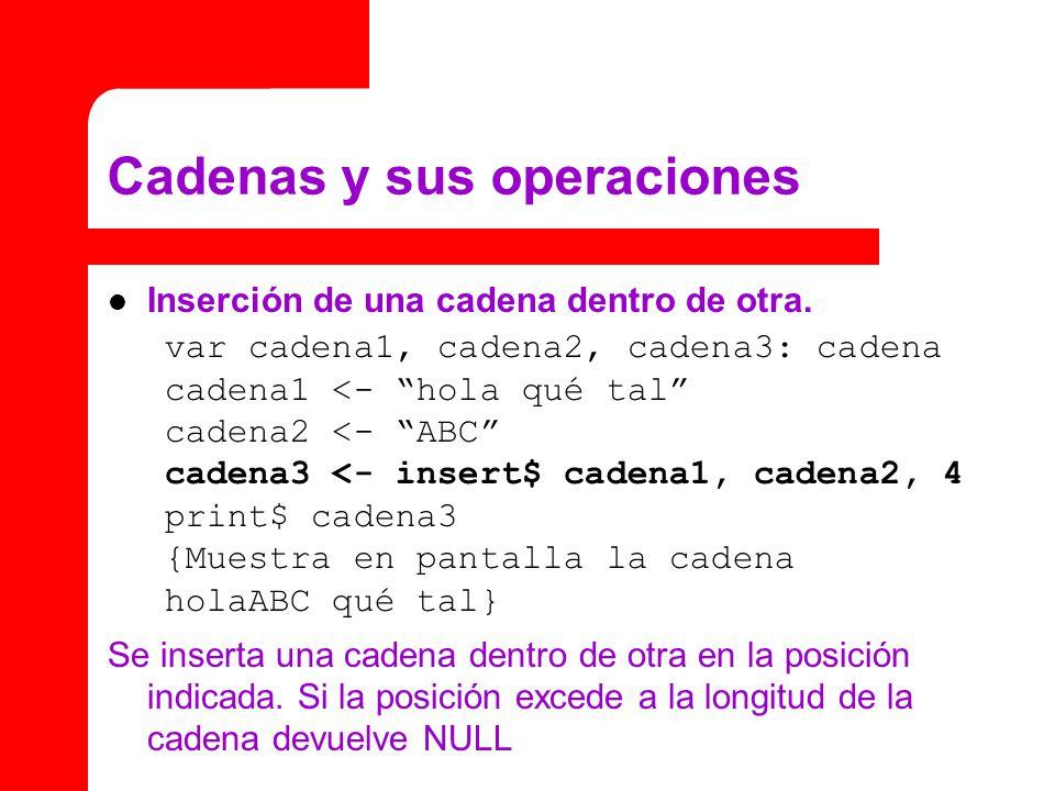 Cadenas y sus operaciones Inserción de una cadena dentro de otra.