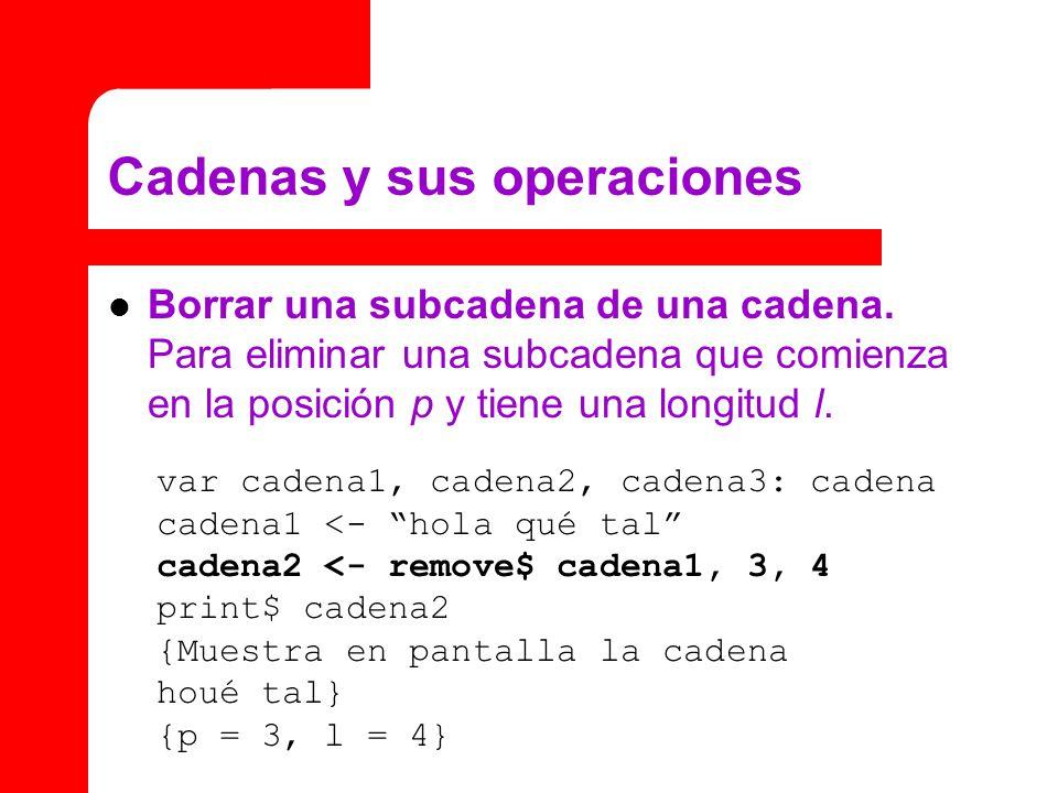 Cadenas y sus operaciones Borrar una subcadena de una cadena. Para eliminar una subcadena que comienza en la posición p y tiene una longitud l. var ca