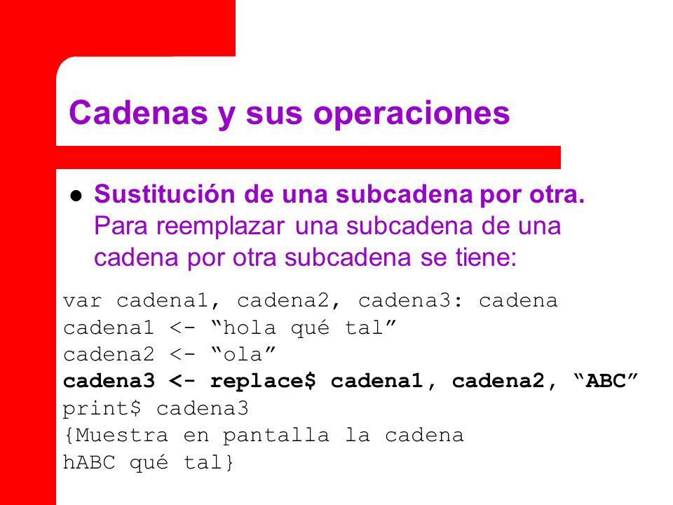 Cadenas y sus operaciones Sustitución de una subcadena por otra. Para reemplazar una subcadena de una cadena por otra subcadena se tiene: var cadena1,