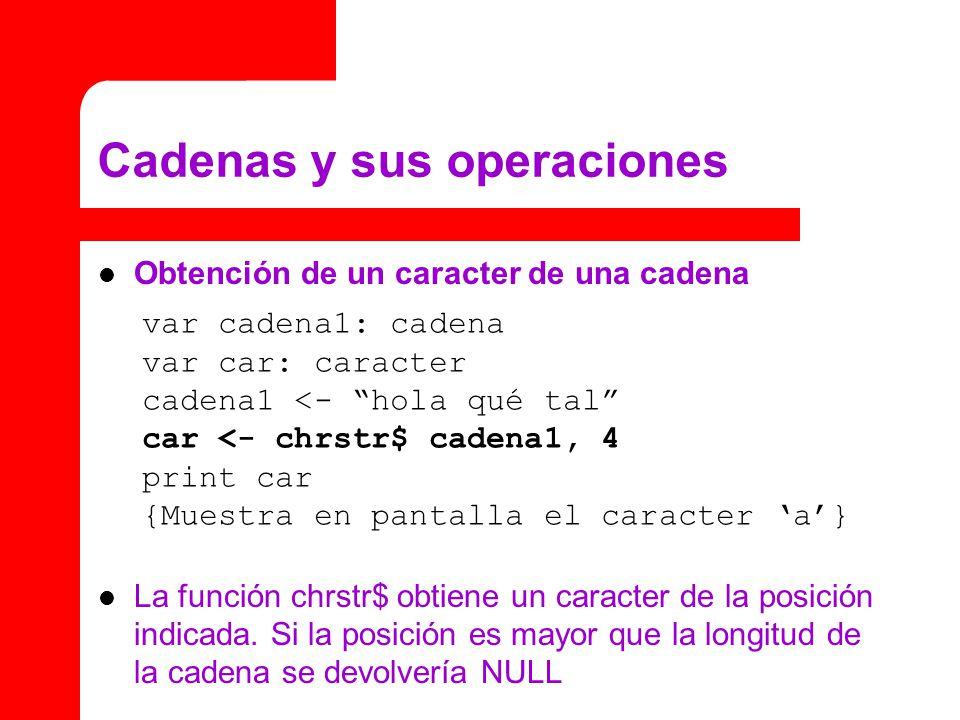 Cadenas y sus operaciones Obtención de un caracter de una cadena La función chrstr$ obtiene un caracter de la posición indicada.