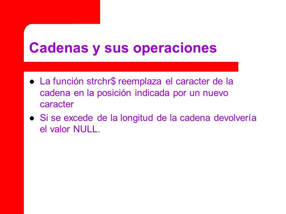 Cadenas y sus operaciones La función strchr$ reemplaza el caracter de la cadena en la posición indicada por un nuevo caracter Si se excede de la longitud de la cadena devolvería el valor NULL.