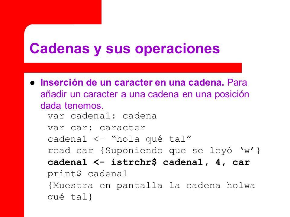 Cadenas y sus operaciones Inserción de un caracter en una cadena. Para añadir un caracter a una cadena en una posición dada tenemos. var cadena1: cade