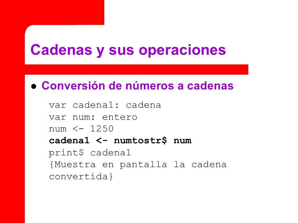 Conversión de números a cadenas Cadenas y sus operaciones var cadena1: cadena var num: entero num <- 1250 cadena1 <- numtostr$ num print$ cadena1 {Mue