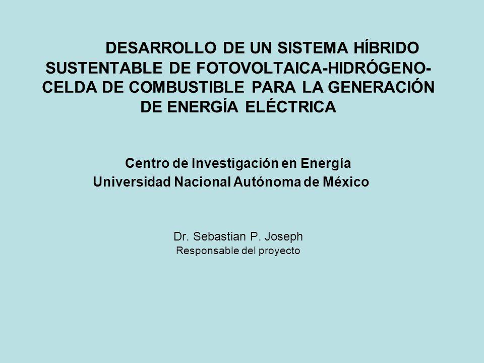OBJETIVO DEL PROYECTO Desarrollar un sistema híbrido sustentable basado en fuentes renovables de energía, tales como la solar y de hidrógeno, que permita demostrar la factibilidad técnica en el suministro de energía eléctrica para su aplicación en instalaciones de baja potencia en Ciudad Universitaria
