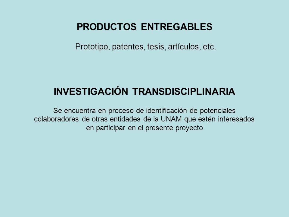 PRODUCTOS ENTREGABLES Prototipo, patentes, tesis, artículos, etc. INVESTIGACIÓN TRANSDISCIPLINARIA Se encuentra en proceso de identificación de potenc
