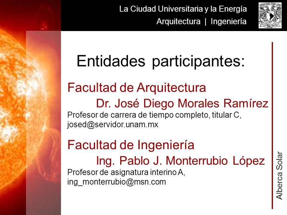Alberca Solar La Ciudad Universitaria y la Energía Arquitectura | Ingeniería Facultad de Arquitectura Dr. José Diego Morales Ramírez Profesor de carre