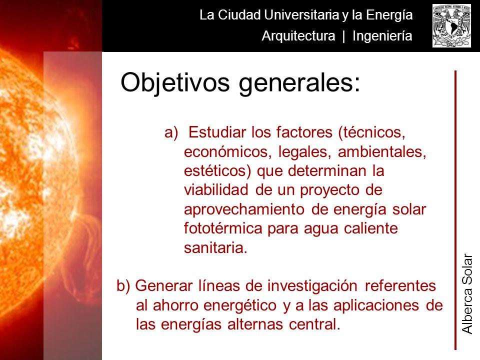 A l b e r c a S o l a r La Ciudad Universitaria y la Energía Arquitectura | Ingeniería a) Estudiar los factores (técnicos, económicos, legales, ambien