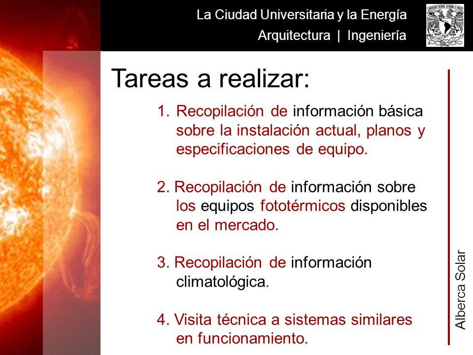 Alberca Solar La Ciudad Universitaria y la Energía Arquitectura | Ingeniería 1.Recopilación de información básica sobre la instalación actual, planos y especificaciones de equipo.
