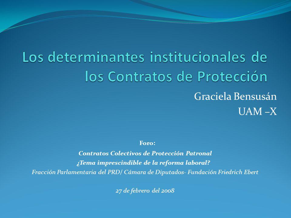 Graciela Bensusán UAM –X Foro: Contratos Colectivos de Protección Patronal ¿Tema imprescindible de la reforma laboral? Fracción Parlamentaria del PRD/