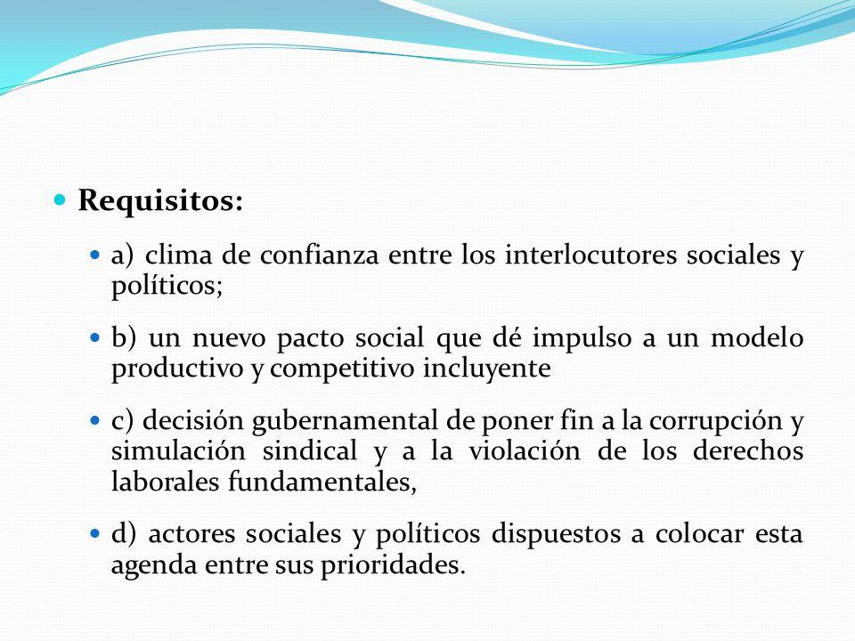 Requisitos: a) clima de confianza entre los interlocutores sociales y políticos; b) un nuevo pacto social que dé impulso a un modelo productivo y comp