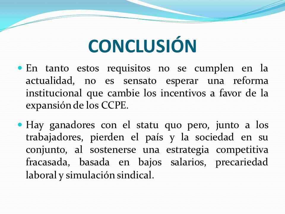 CONCLUSIÓN En tanto estos requisitos no se cumplen en la actualidad, no es sensato esperar una reforma institucional que cambie los incentivos a favor