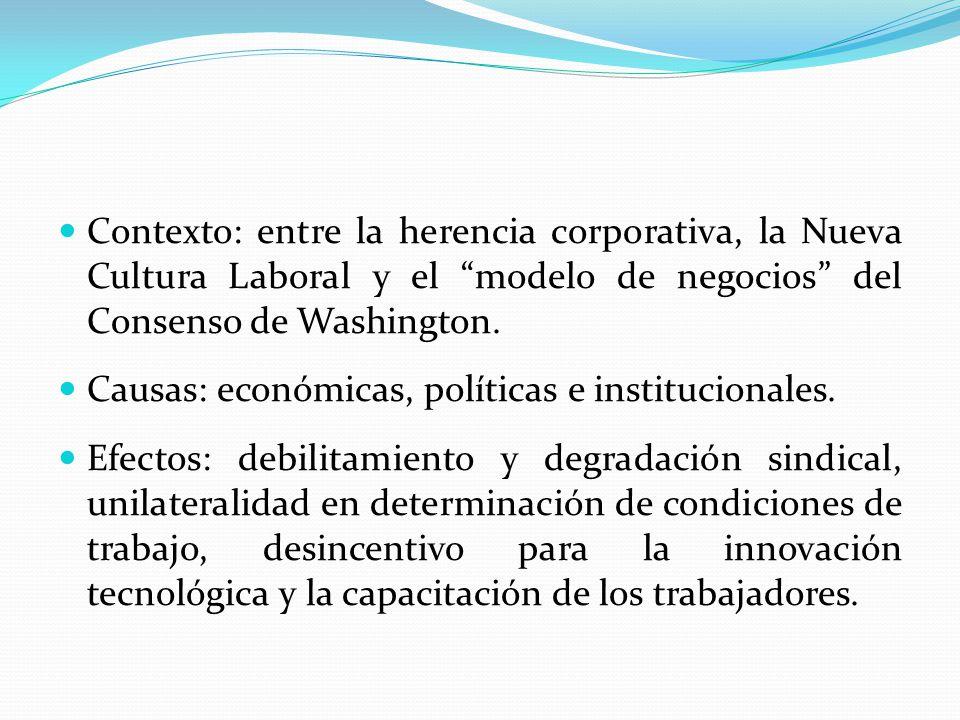 Contexto: entre la herencia corporativa, la Nueva Cultura Laboral y el modelo de negocios del Consenso de Washington. Causas: económicas, políticas e