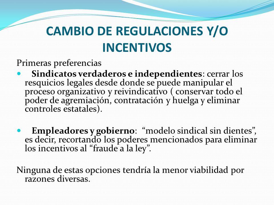 CAMBIO DE REGULACIONES Y/O INCENTIVOS Primeras preferencias Sindicatos verdaderos e independientes: cerrar los resquicios legales desde donde se puede