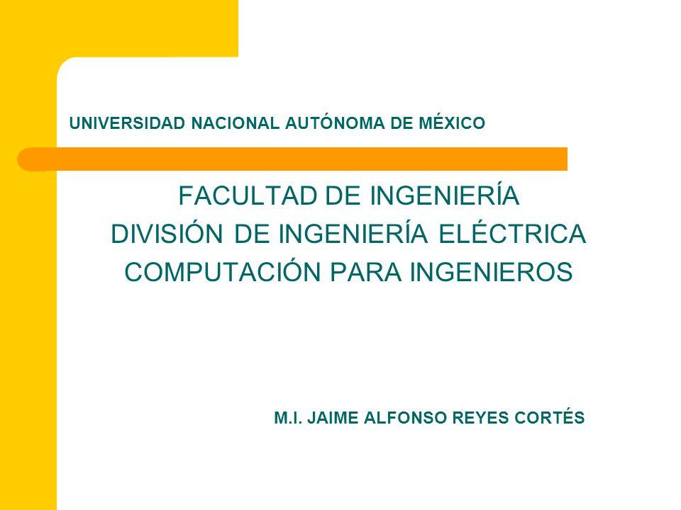 UNIVERSIDAD NACIONAL AUTÓNOMA DE MÉXICO FACULTAD DE INGENIERÍA DIVISIÓN DE INGENIERÍA ELÉCTRICA COMPUTACIÓN PARA INGENIEROS M.I. JAIME ALFONSO REYES C