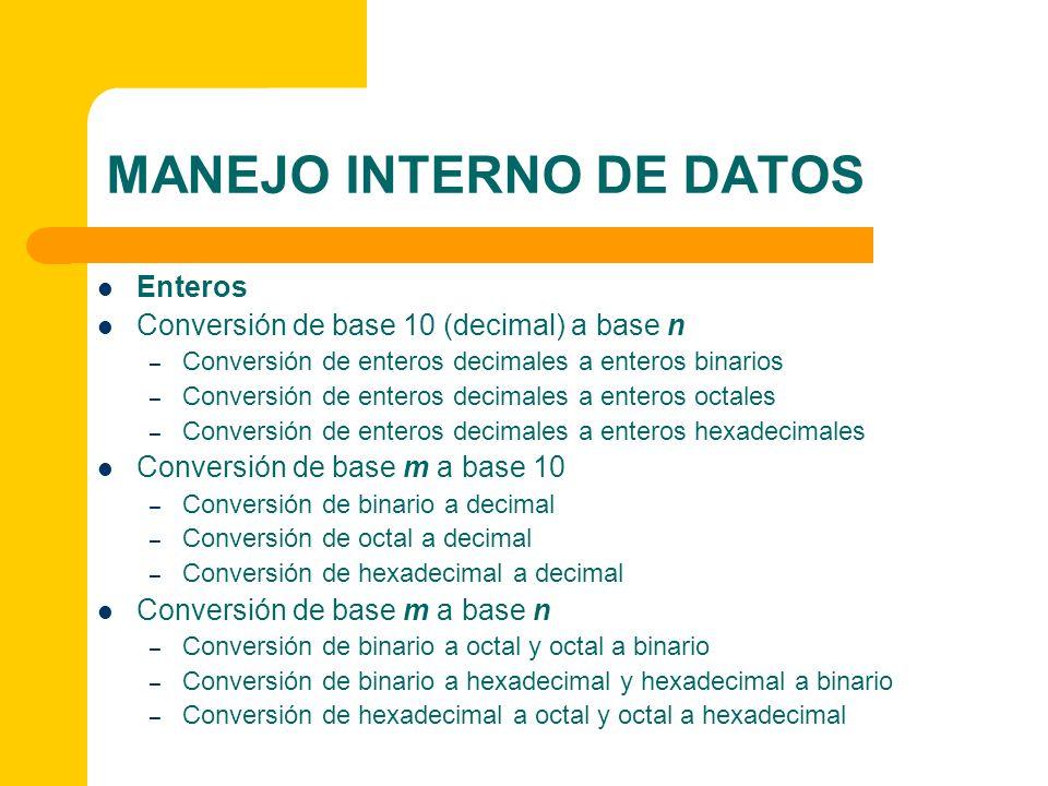 MANEJO INTERNO DE DATOS Enteros Conversión de base 10 (decimal) a base n – Conversión de enteros decimales a enteros binarios – Conversión de enteros