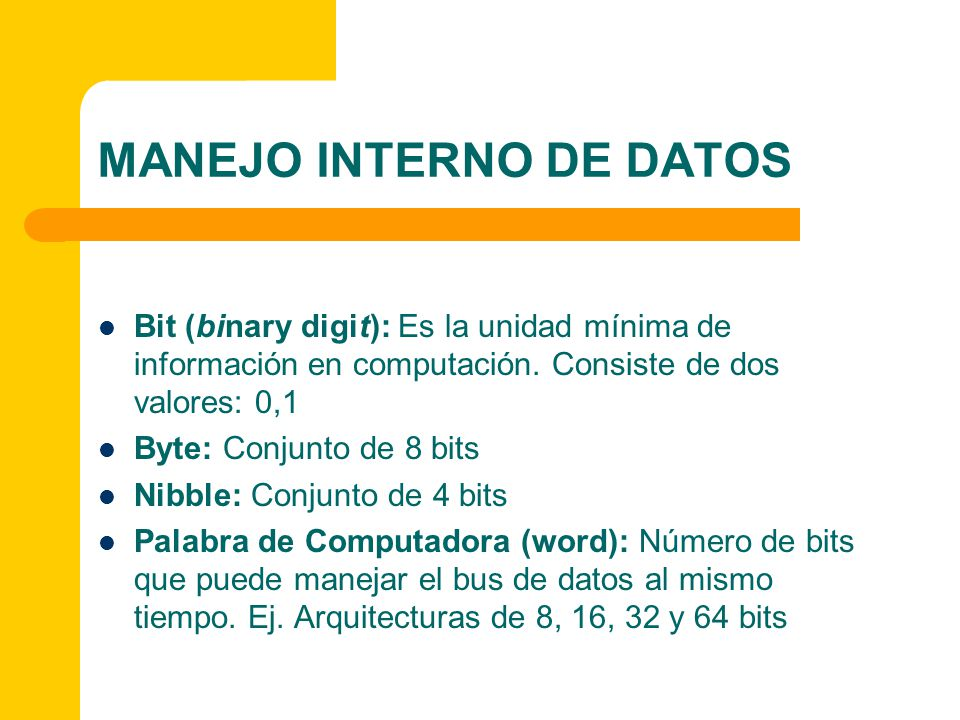 MANEJO INTERNO DE DATOS La capacidad de la memoria de la computadora se mide en bytes, por ejemplo Prefijos: k = kilo = 10 3, M = mega = 10 6, G = giga = 10 9, T = tera = 10 12, P = peta = 10 15, E = exa = 10 18 en sistema decimal 1 KBmil bytes1000 bytes o 2 10 = 1024 bytes 1 MB1000 KB o un millón de bytes1000 KB o 1 000 000 de bytes 2 20 = 1,048,576 bytes 1 GB1000 MB o un millón de KB1000 MB o 1 000 000 de KB o 2 30 = 1,073,741,824 bytes 1 TB1000 GB o un millón de MB1000 GB o 1 000 000 de MB o 2 40 = 1,099,511,627,776 bytes 1 PB1000 TB o un millón de GB1000 TB o 1 000 000 de GB o 2 50 = 1,125,899,906,842,624 bytes 1 EB1000 PB o un millón de TB1000 PB o 1 000 000 de TB o 2 60 = 1,152,921,504,606,846,976 bytes