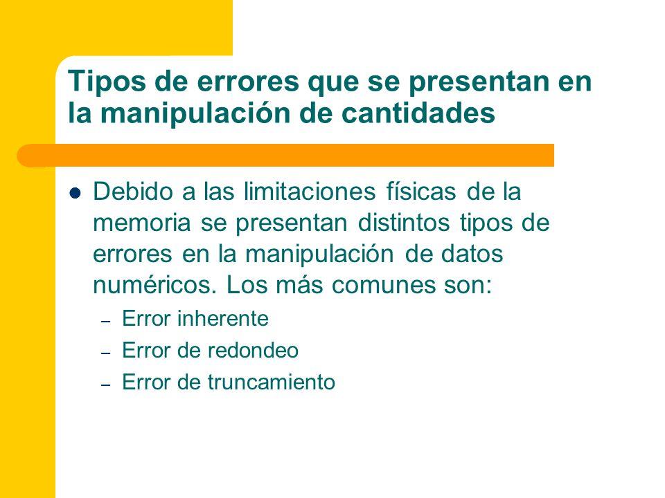 Tipos de errores que se presentan en la manipulación de cantidades Debido a las limitaciones físicas de la memoria se presentan distintos tipos de err