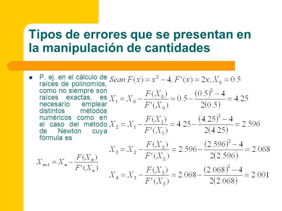 P. ej. en el cálculo de raíces de polinomios, como no siempre son raíces exactas, es necesario emplear distintos métodos numéricos como en el caso del