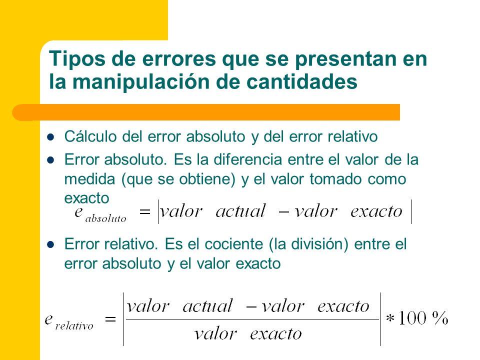 Cálculo del error absoluto y del error relativo Error absoluto. Es la diferencia entre el valor de la medida (que se obtiene) y el valor tomado como e