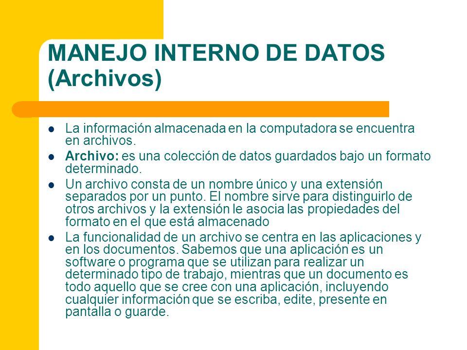 MANEJO INTERNO DE DATOS (Archivos) La información almacenada en la computadora se encuentra en archivos. Archivo: es una colección de datos guardados