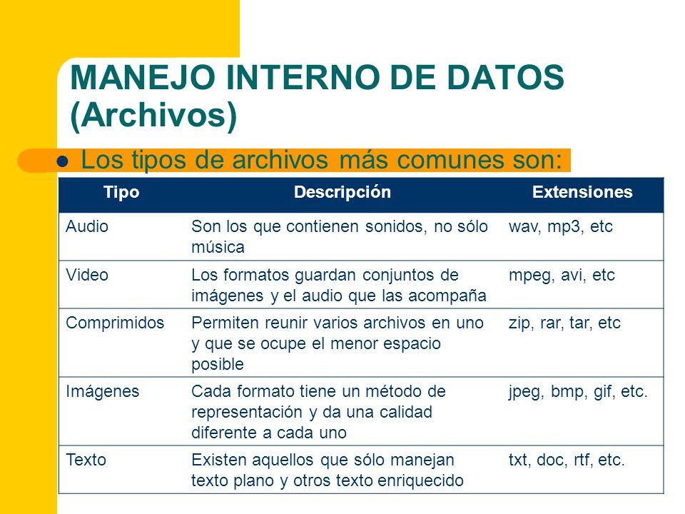 MANEJO INTERNO DE DATOS (Archivos) Los tipos de archivos más comunes son: TipoDescripciónExtensiones AudioSon los que contienen sonidos, no sólo músic