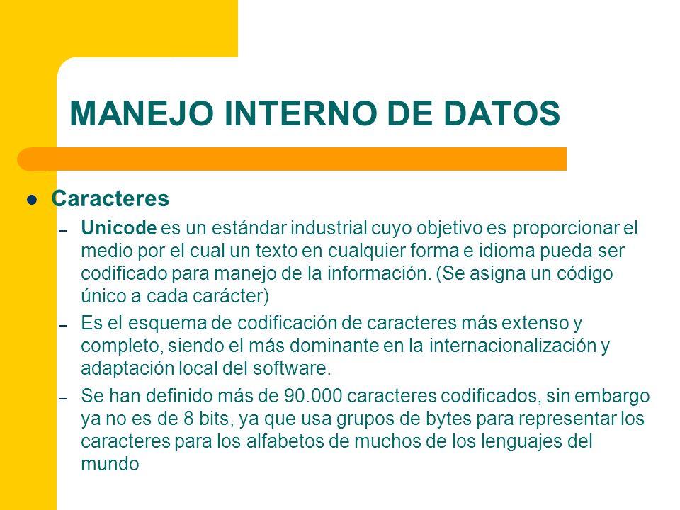 MANEJO INTERNO DE DATOS (Archivos) La información almacenada en la computadora se encuentra en archivos.