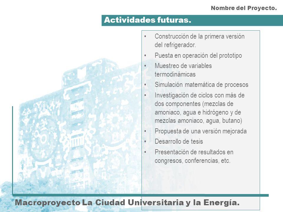 Actividades futuras. Macroproyecto La Ciudad Universitaria y la Energía. Construcción de la primera versión del refrigerador. Puesta en operación del