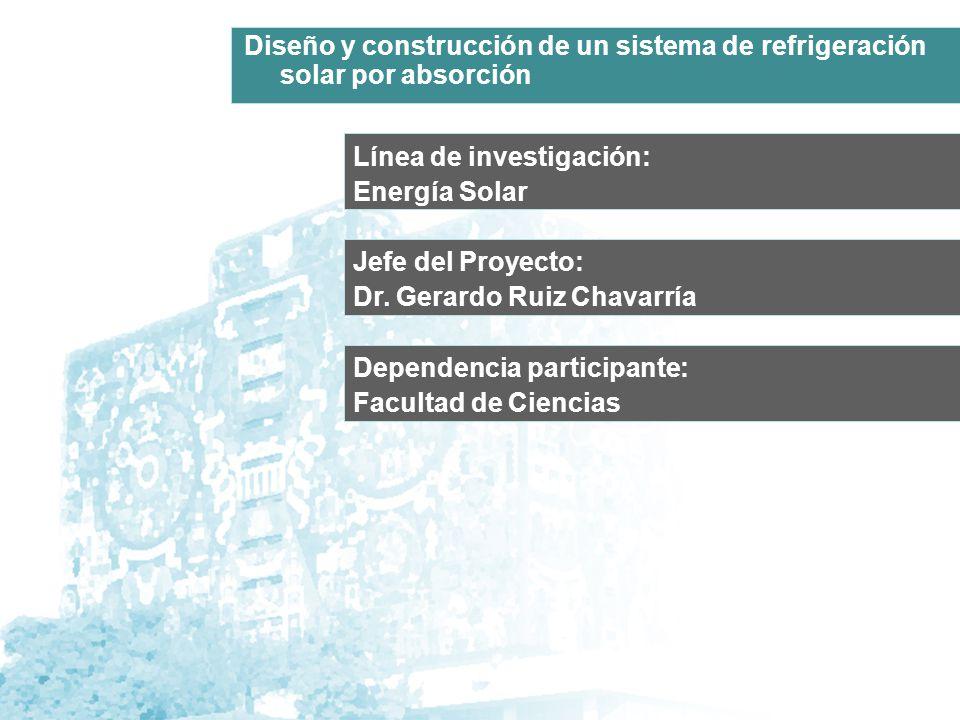 Línea de investigación: Energía Solar Jefe del Proyecto: Dr. Gerardo Ruiz Chavarría Diseño y construcción de un sistema de refrigeración solar por abs