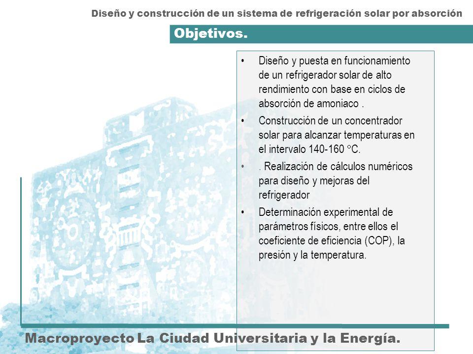 Objetivos. Macroproyecto La Ciudad Universitaria y la Energía. Diseño y puesta en funcionamiento de un refrigerador solar de alto rendimiento con base
