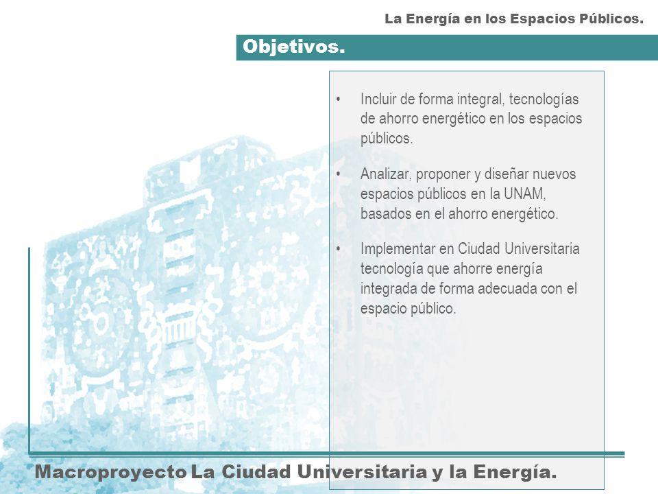 Objetivos. Macroproyecto La Ciudad Universitaria y la Energía.