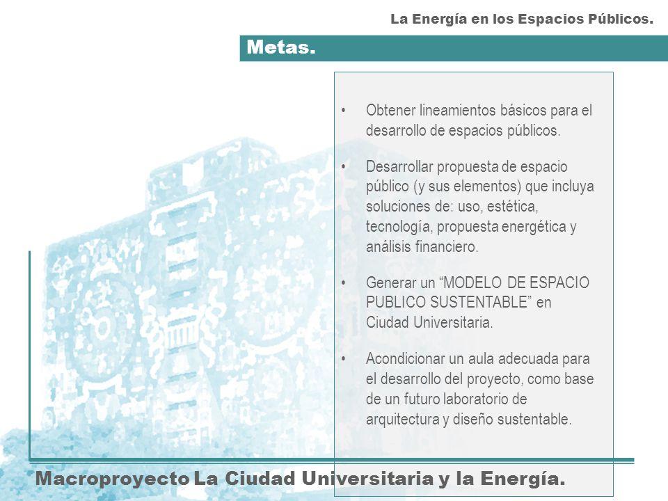 Metas.Macroproyecto La Ciudad Universitaria y la Energía.