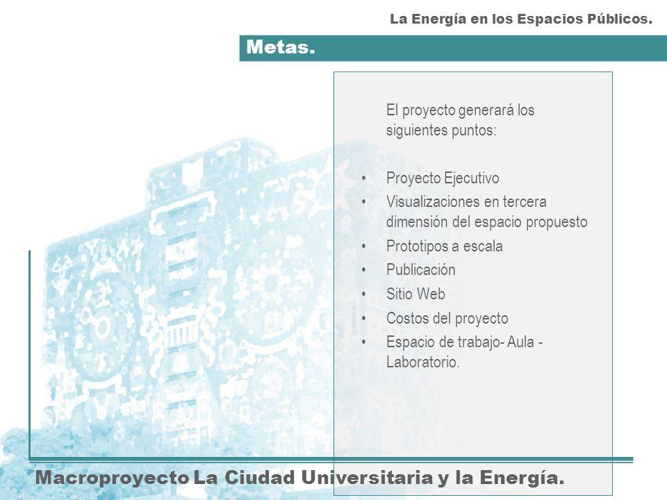 Metas. Macroproyecto La Ciudad Universitaria y la Energía.