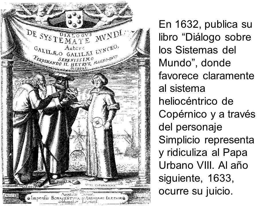 En 1632, publica su libro Diálogo sobre los Sistemas del Mundo, donde favorece claramente al sistema heliocéntrico de Copérnico y a través del persona