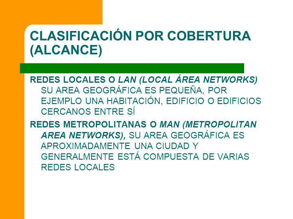CLASIFICACIÓN POR COBERTURA (ALCANCE) REDES LOCALES O LAN (LOCAL ÁREA NETWORKS) SU AREA GEOGRÁFICA ES PEQUEÑA, POR EJEMPLO UNA HABITACIÓN, EDIFICIO O