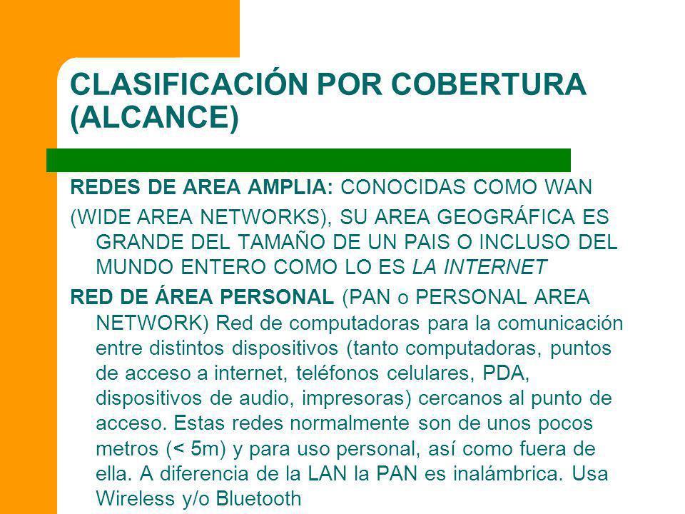 CLASIFICACIÓN POR COBERTURA (ALCANCE) REDES DE AREA AMPLIA: CONOCIDAS COMO WAN (WIDE AREA NETWORKS), SU AREA GEOGRÁFICA ES GRANDE DEL TAMAÑO DE UN PAI