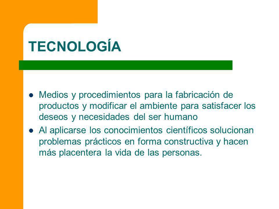 TECNOLOGÍA Medios y procedimientos para la fabricación de productos y modificar el ambiente para satisfacer los deseos y necesidades del ser humano Al