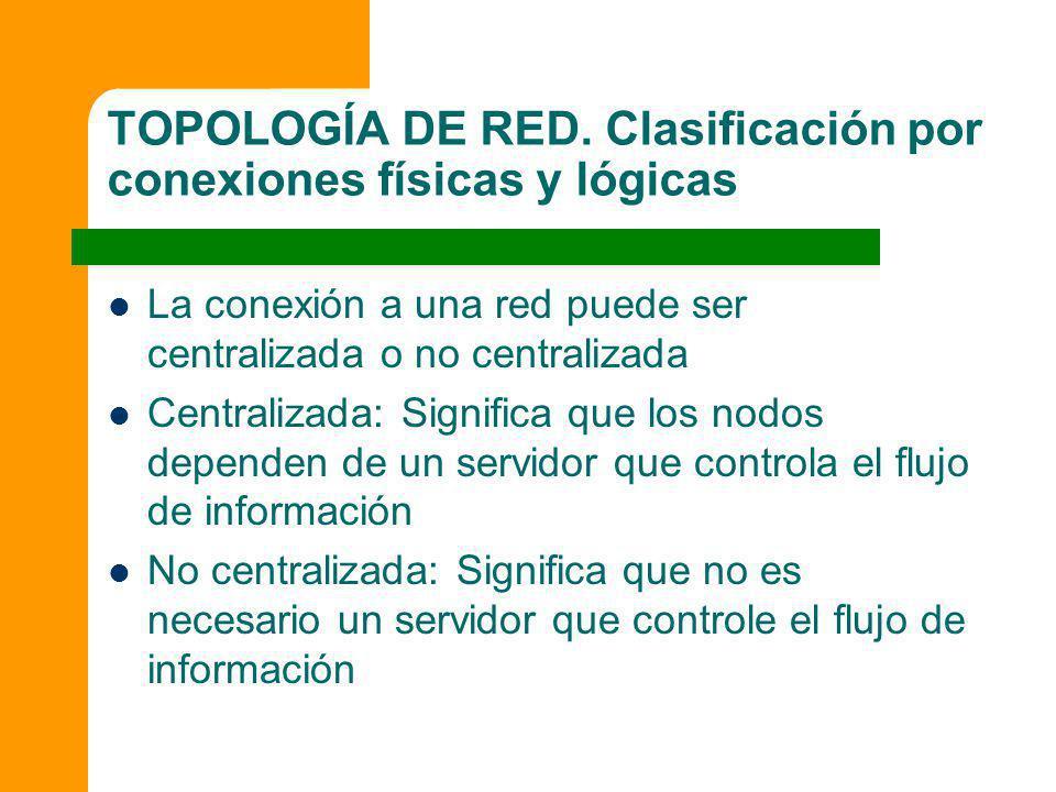TOPOLOGÍA DE RED. Clasificación por conexiones físicas y lógicas La conexión a una red puede ser centralizada o no centralizada Centralizada: Signific