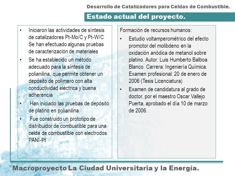 Estado actual del proyecto. Macroproyecto La Ciudad Universitaria y la Energía. Formación de recursos humanos: Estudio voltamperométrico del efecto pr