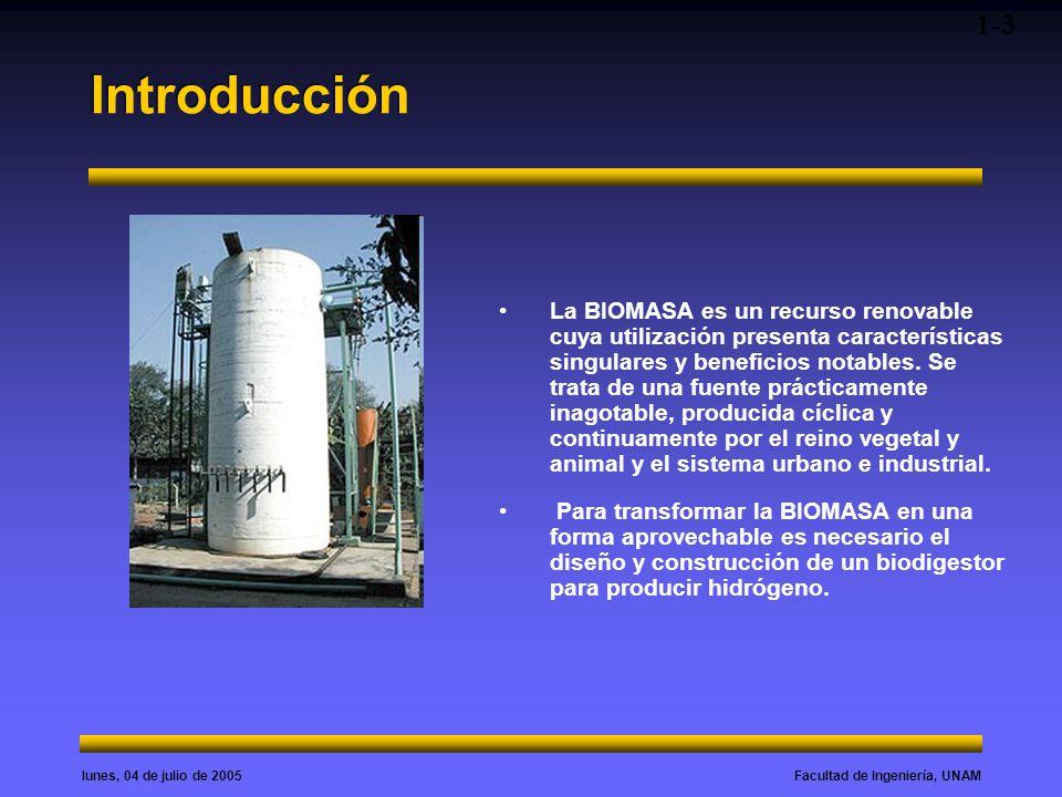 Facultad de Ingeniería, UNAMlunes, 04 de julio de 2005 Introducción La BIOMASA es un recurso renovable cuya utilización presenta características singu
