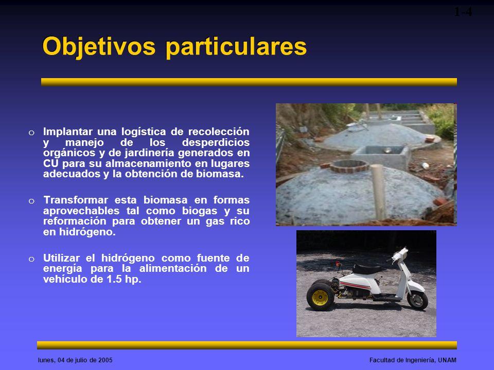 Facultad de Ingeniería, UNAMlunes, 04 de julio de 2005 Diagrama del proceso 1-5 Diseño y puesta en marcha del biodigestor Purificador y enriquecedor de hidrogeno (reformador) Entrada a la celda de combustible Aplicación al Transporte Obtención de metano y derivados