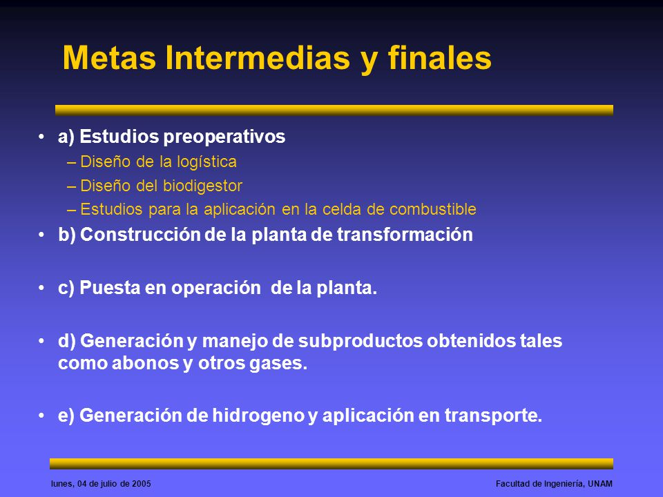Facultad de Ingeniería, UNAMlunes, 04 de julio de 2005 Metas Intermedias y finales a) Estudios preoperativos –Diseño de la logística –Diseño del biodi
