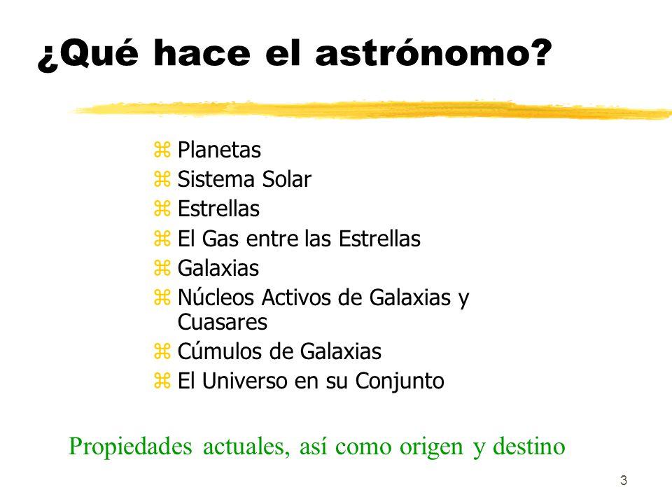 3 ¿Qué hace el astrónomo? zPlanetas zSistema Solar zEstrellas zEl Gas entre las Estrellas zGalaxias zNúcleos Activos de Galaxias y Cuasares zCúmulos d