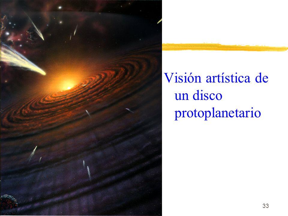 33 Visión artística de un disco protoplanetario