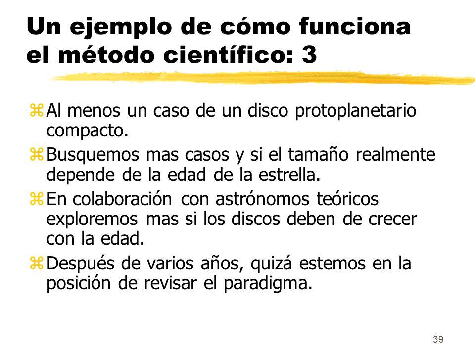 39 Un ejemplo de cómo funciona el método científico: 3 zAl menos un caso de un disco protoplanetario compacto. zBusquemos mas casos y si el tamaño rea