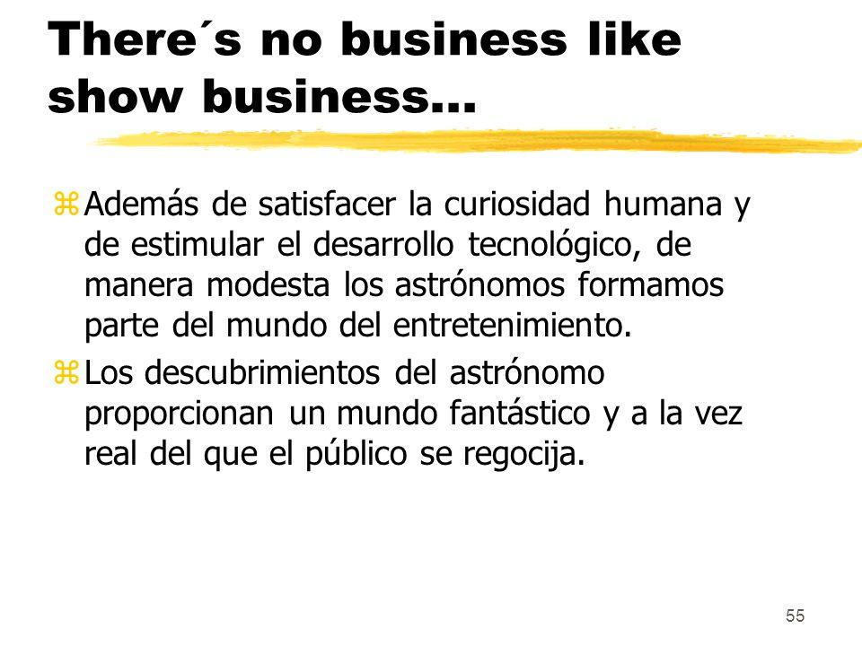 55 There´s no business like show business... zAdemás de satisfacer la curiosidad humana y de estimular el desarrollo tecnológico, de manera modesta lo