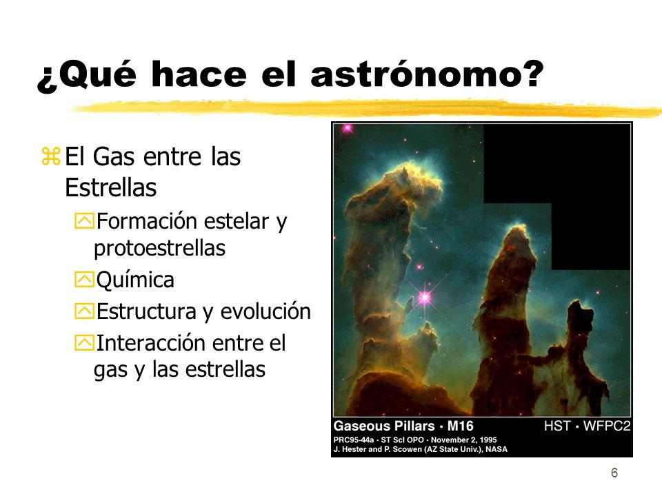 6 ¿Qué hace el astrónomo? zEl Gas entre las Estrellas yFormación estelar y protoestrellas yQuímica yEstructura y evolución yInteracción entre el gas y