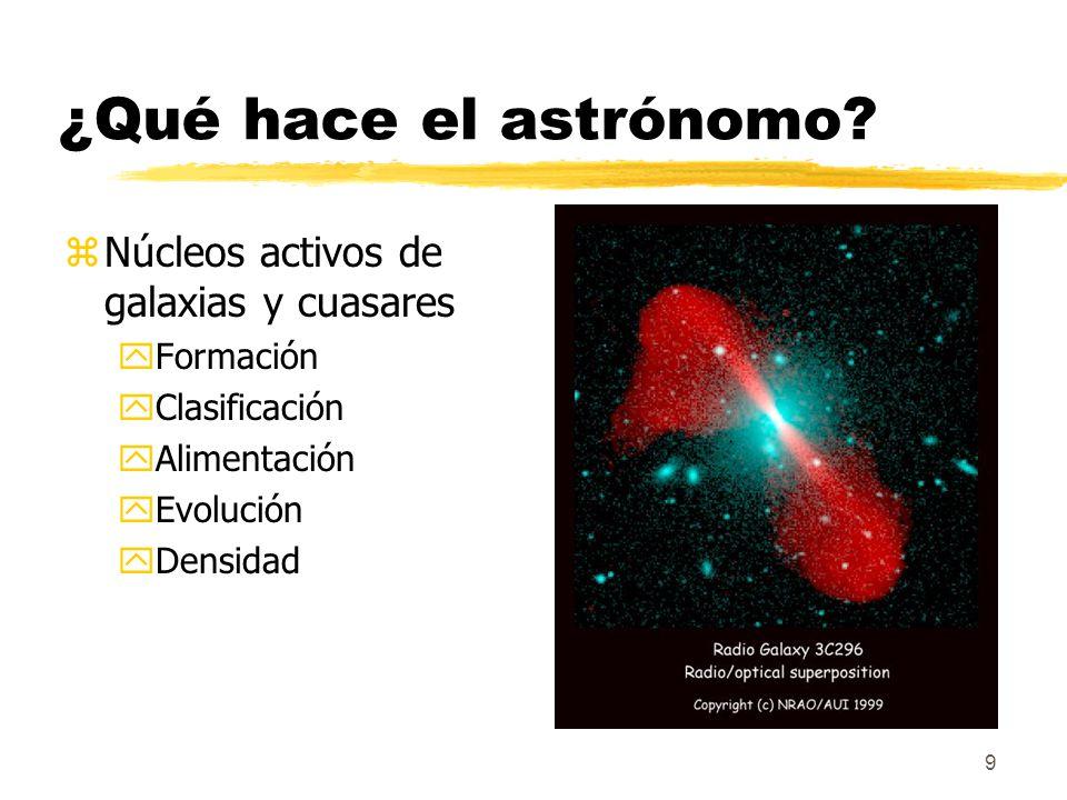 9 ¿Qué hace el astrónomo? zNúcleos activos de galaxias y cuasares yFormación yClasificación yAlimentación yEvolución yDensidad