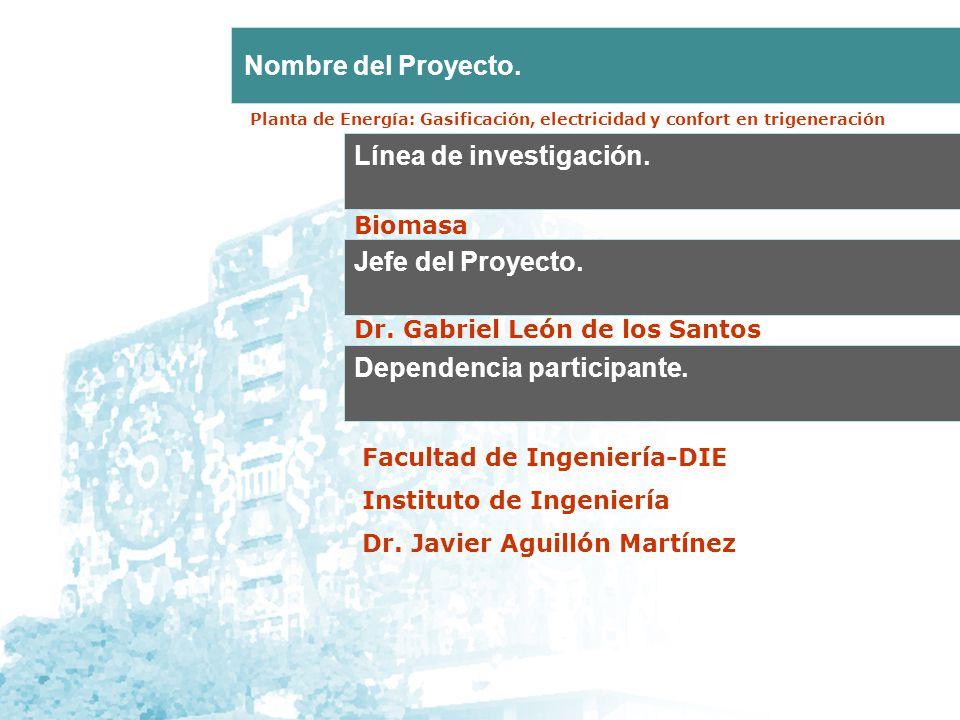 Línea de investigación. Jefe del Proyecto. Nombre del Proyecto. Dependencia participante. Biomasa Dr. Gabriel León de los Santos Facultad de Ingenierí