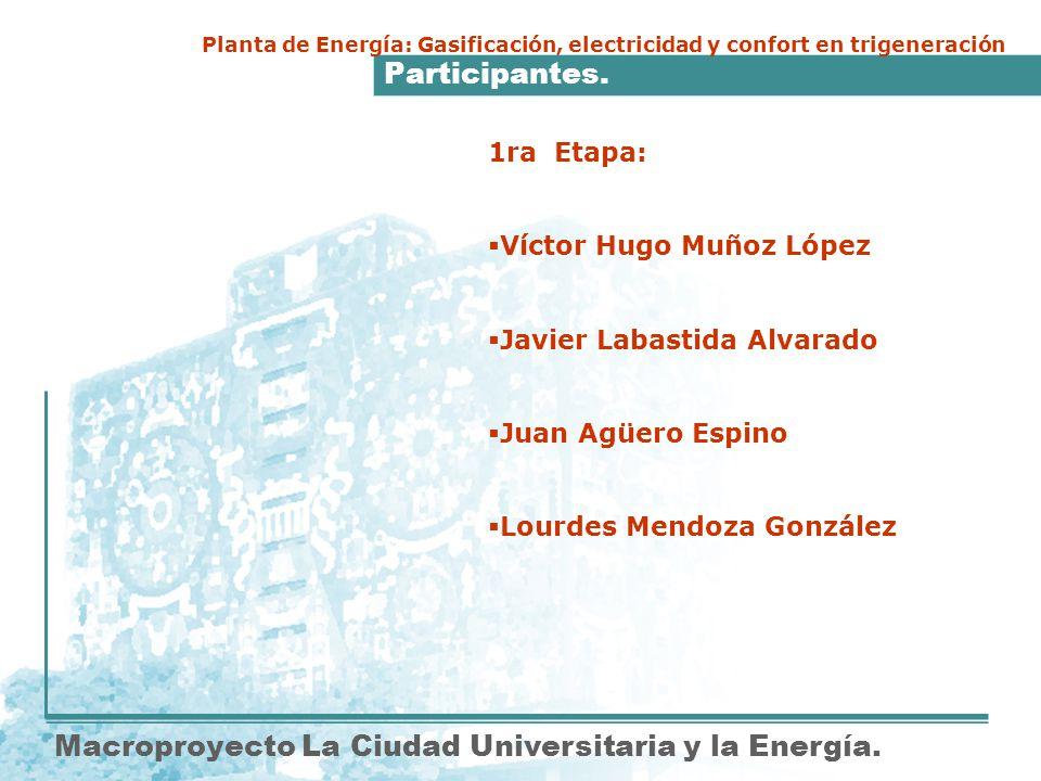 Participantes. Macroproyecto La Ciudad Universitaria y la Energía. 1ra Etapa: Víctor Hugo Muñoz López Javier Labastida Alvarado Juan Agüero Espino Lou