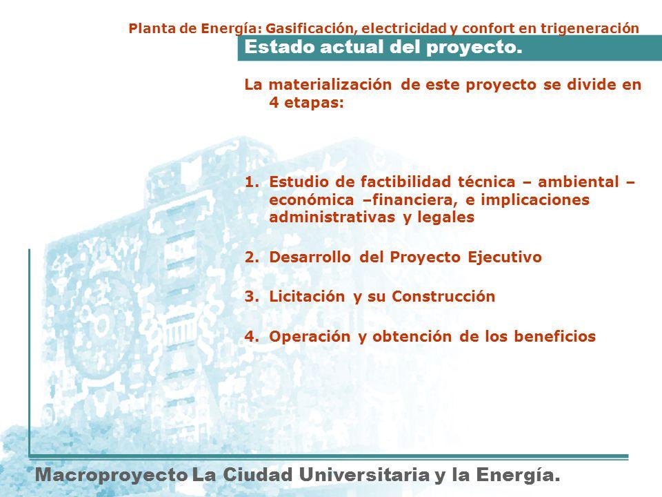 Estado actual del proyecto. Macroproyecto La Ciudad Universitaria y la Energía. Planta de Energía: Gasificación, electricidad y confort en trigeneraci